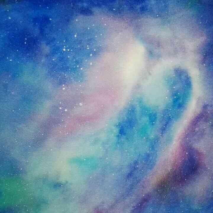 星空图片手绘 彩铅