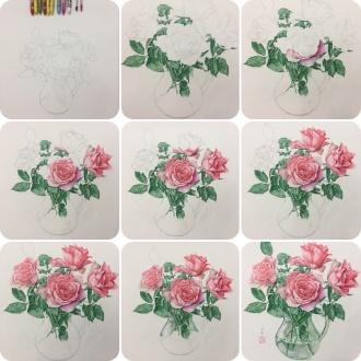 圆珠笔手绘花卉 #滨